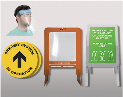 Get 20 x one-way system floor stickers, 1 x limited entry a-frame, 10 x face visor with a foam headband, 5 x sneeze guards for £390