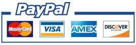 All major credit cards accepted. PayPal Acceptance Mark